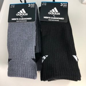 Men's NEW Adidas Crew Socks 6 Pairs Gray & Black